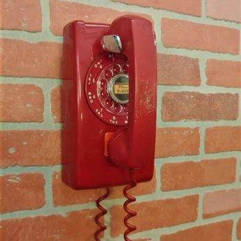 red rotary wall phone Film prop rental NY