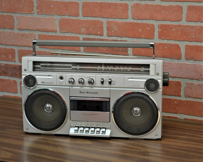 Large boom box prop rental with cassette prop nyc