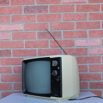 white vintage television nyc prop rental