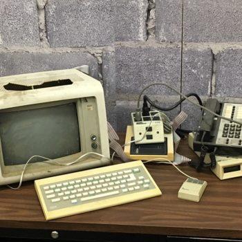 vintage apocolypse computer desk prop rentals nyc