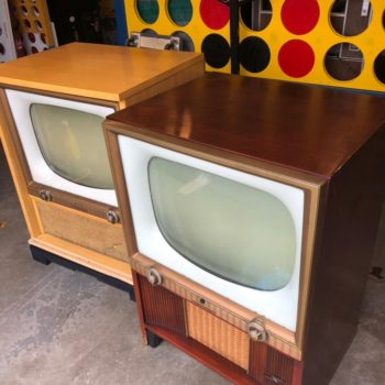 vintage console tv walnut console