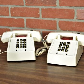 2 white hotel phones prop rental New York