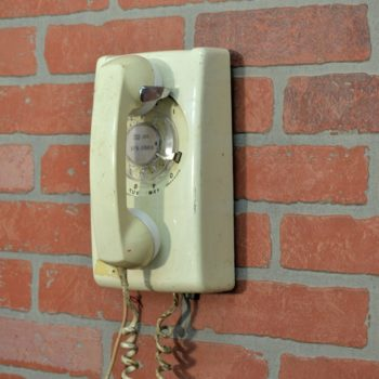 white rotary wall telephone NYC prop rental