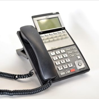 black dial pad telephone