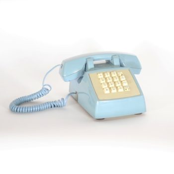 blue vintage phone prop rental