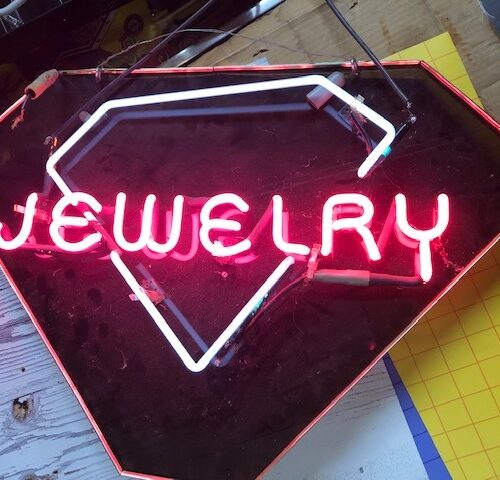 jewelry neon sign prop rental nyc