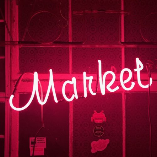 market neon sign prop rental