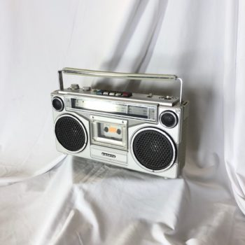 Classic Sanyo Silver Boombox/ Tape Player Prop Rental NYC | CT