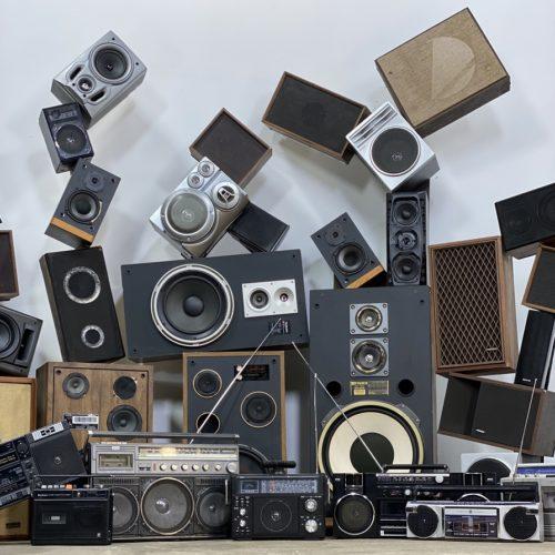 vintage speaker and boombox 80s party prop rentals new york