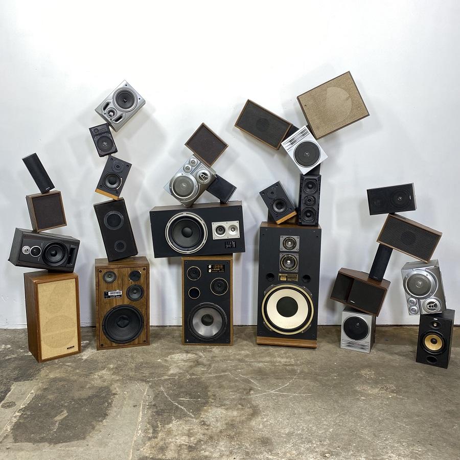 vintage speaker wall 80s party prop rentals nyc