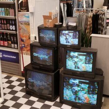 Prop rental TV wall display - vintage tvs