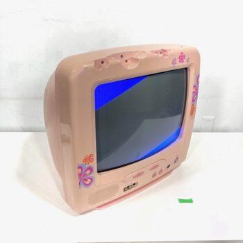 pink vintage crt tv prop rental 13 inch-2