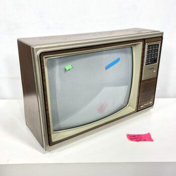 vintage pushbutton woodgrain tv prop