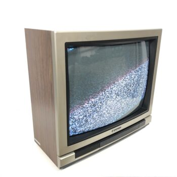 1980s hitachi silver and wood TV prop