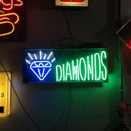 diamonds neon sign prop rental