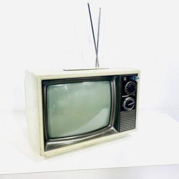 sylvania white 1970s tabletop tv prop